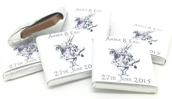 Alice in Wonderland White Rabbit Personalised Chocolate Wedding Favours