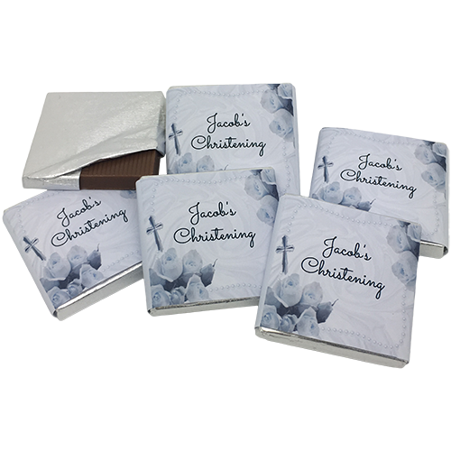 Flowers & Cross Personalised Chocolate Christening Favours