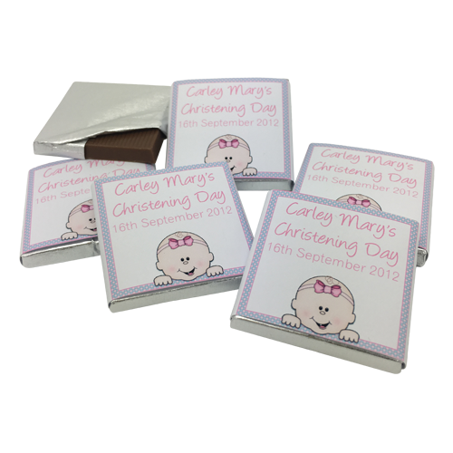 Cute Baby Personalised Chocolate Christening Favours