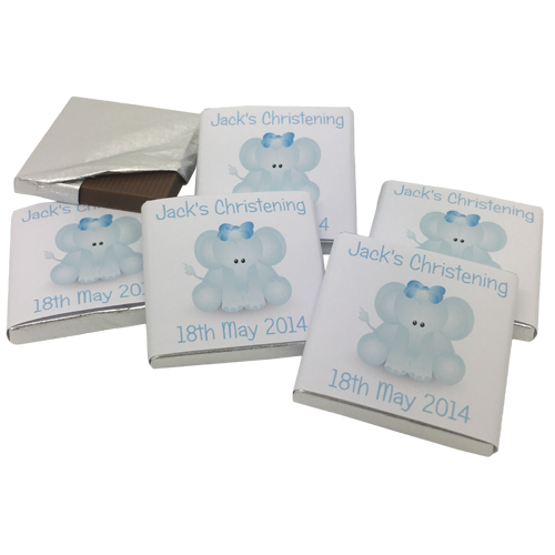 Cute Elephant Personalised Chocolate Christening Favours
