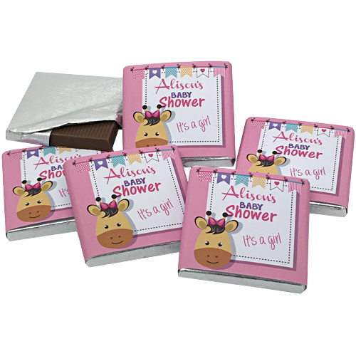 Pink Giraffe Personalised Chocolate Baby Shower Favours