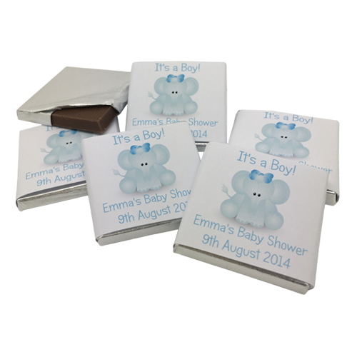 Cute Blue Elephant Personalised Chocolate Baby Shower Favours