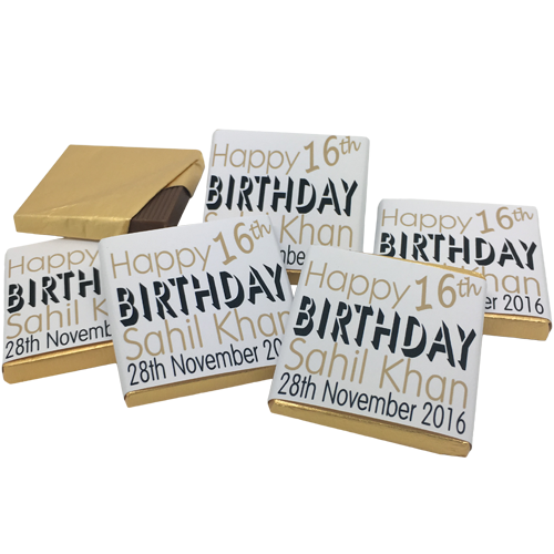 Black & Gold Bold Text Personalised Chocolate Birthday Favours