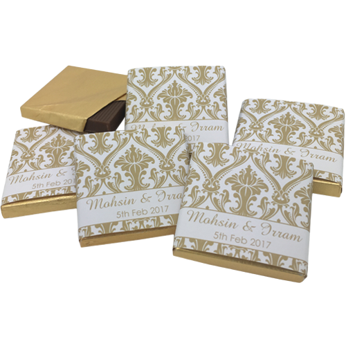 Elegant Damask Personalised Chocolate Wedding Favours - Various Colours