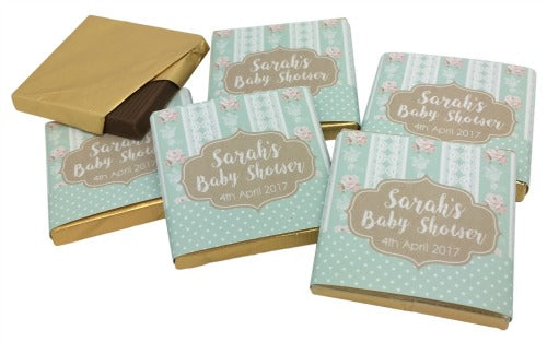 Shabby Chic Personalised Chocolate Baby Shower Favours
