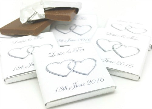 Silver Entwined Hearts Personalised Chocolate Wedding Favours