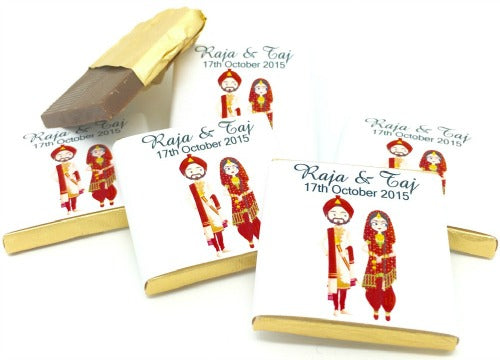 Sikh Wedding Couple Personalised Chocolate Wedding Favours