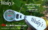 40X Jewelers Loupe Magnifier LED/UV Illuminated, Includes a Sturdy EVA TRAVEL CARRYING CASE,  for Gardening, Kids, Hobby Crafts, Coin, and Rock Collecting by Wesley's as you wish