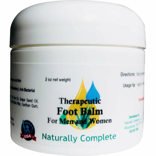 Naturally Complete Therapeutic Foot Balm For Men and Women 2 oz. Jar | Unscented | Anti-fungal | Anti-bacterial | Anti-inflammatory - Naturally Complete