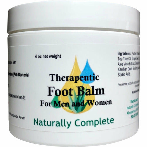 Naturally Complete Therapeutic Foot Balm For Men and Women 4 oz. Jar | Unscented | Anti-fungal | Anti-bacterial | Anti-inflammatory - Naturally Complete