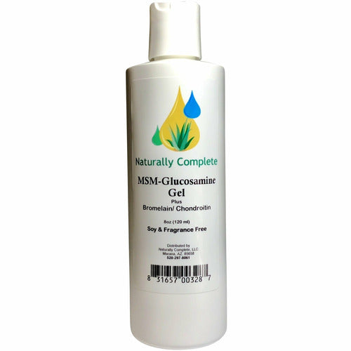 Naturally Complete MSM Gel Plus Glucosamine Bromelain and Chondroitin 8 oz Bottle | Non-GMO | Unscented | Made in USA