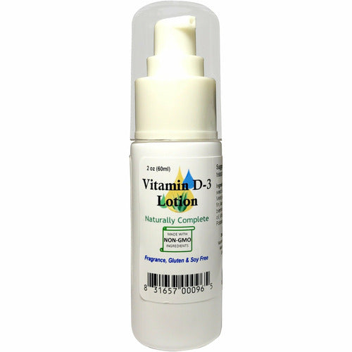 Naturally Complete Vitamin D-3 Lotion 2 oz. Pump Bottle | Non-GMO | Sunshine in a Bottle | Unscented | Made in USA - Naturally Complete