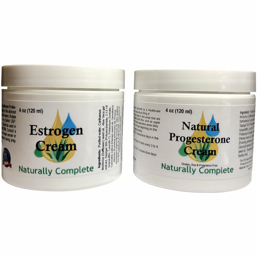 Naturally Complete Estro Pack = Two 4 oz. Jar of One Estrogen/Estriol & Progesterone |  2 Natural Menopause Products in One Package | Non-GMO | Soy-Free | Made in USA - Naturally Complete