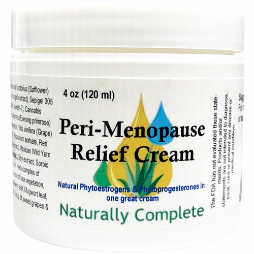 Peri-Menopause Relief Cream 4 oz. Jar | Non-GMO | Soy-Free | Paraben-Free | Unscented | Gluten-Free | Made in USA - Naturally Complete