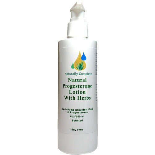 Naturally Complete Progesterone Plus Herbs Lotion 8 oz. Pump Bottle - Scented Light Vanilla | Non-GMO | Soy-Free | Paraben-Free | Made in USA - Naturally Complete
