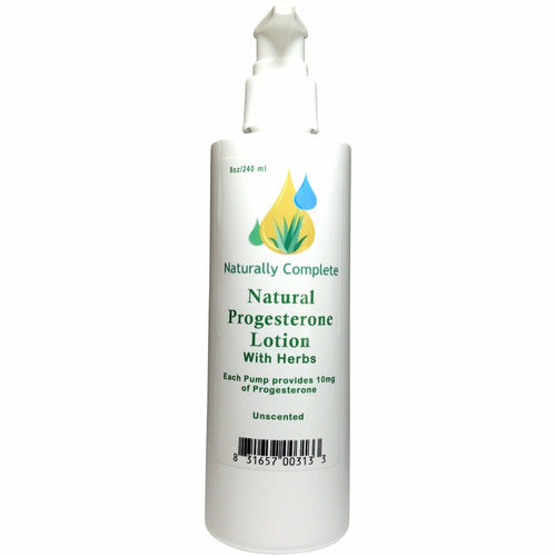 Naturally Complete Progesterone Plus Herbs Lotion 8 oz. Pump Bottle  | Non-GMO | Soy-Free | Paraben-Free | Unscented | Made in USA - Naturally Complete