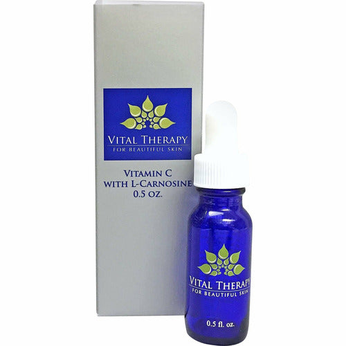Vital Therapy Vitamin C Serum with Caffeine L-Carnosine 0.5 oz. | Made In The USA - Naturally Complete