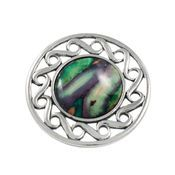Pewter Circular Heathergem Brooch