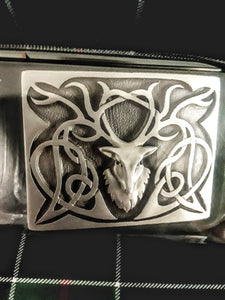 Belt Buckle - Stag Antique Silver Finish