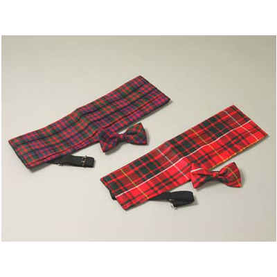 Spring Weight Cummerbund  (Adult Sizes) with Wing Bowtie (Tartans A-B)