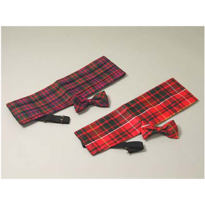 Spring Weight Cummerbund  (Adult Sizes) with Wing Bowtie (Tartans M-P)