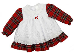 Tartan Dress with Broderie Anglaise Smock