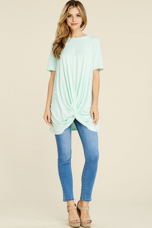 Short Sleeve Twist Hem Tunic Tee