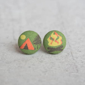 Fabric Covered Button Stud Earrings