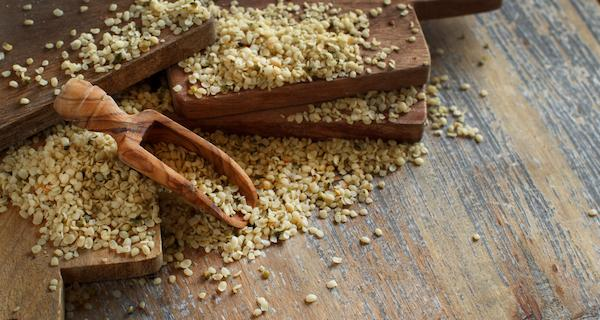 Boards with hemp seeds scattered