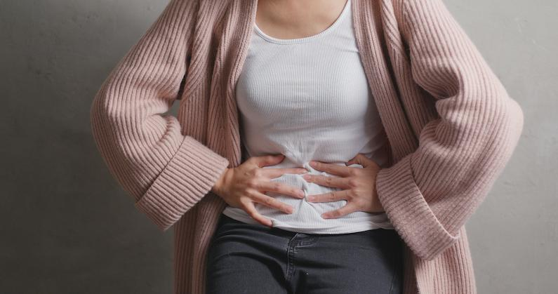 A girl with period pain