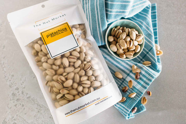 A display of pistachio nuts