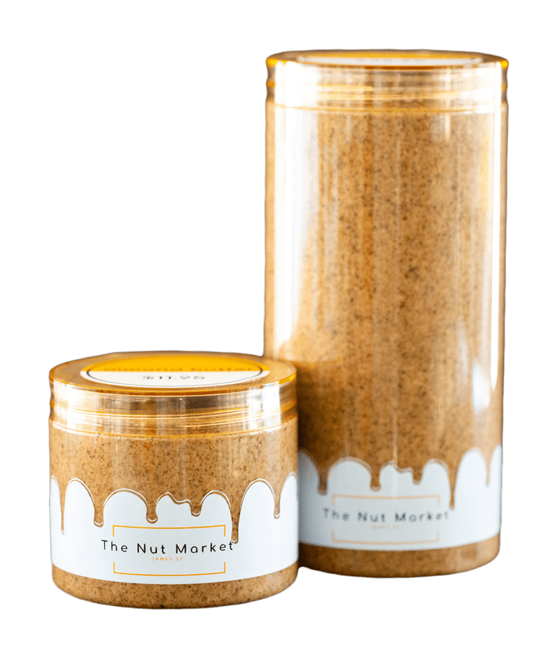 Almond Butter in 300g and 850g Nut Market jars.