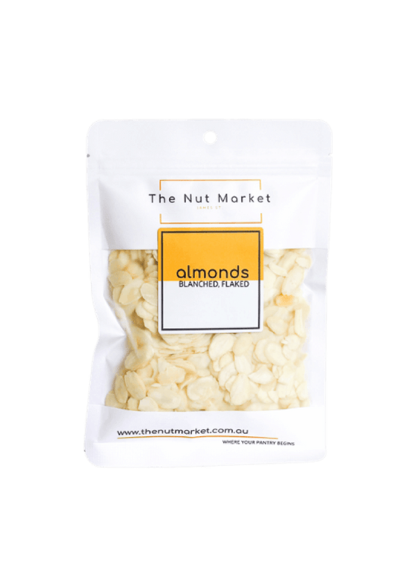 Blanched Almond Flakes in 150g Nut Market bag.
