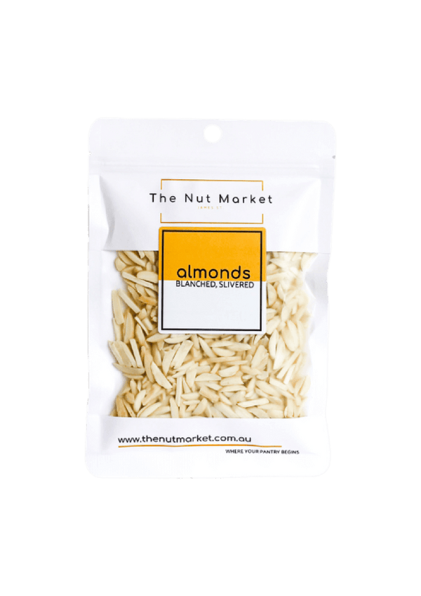 Blanched Slivered Almonds in 150g Nut Market bag.