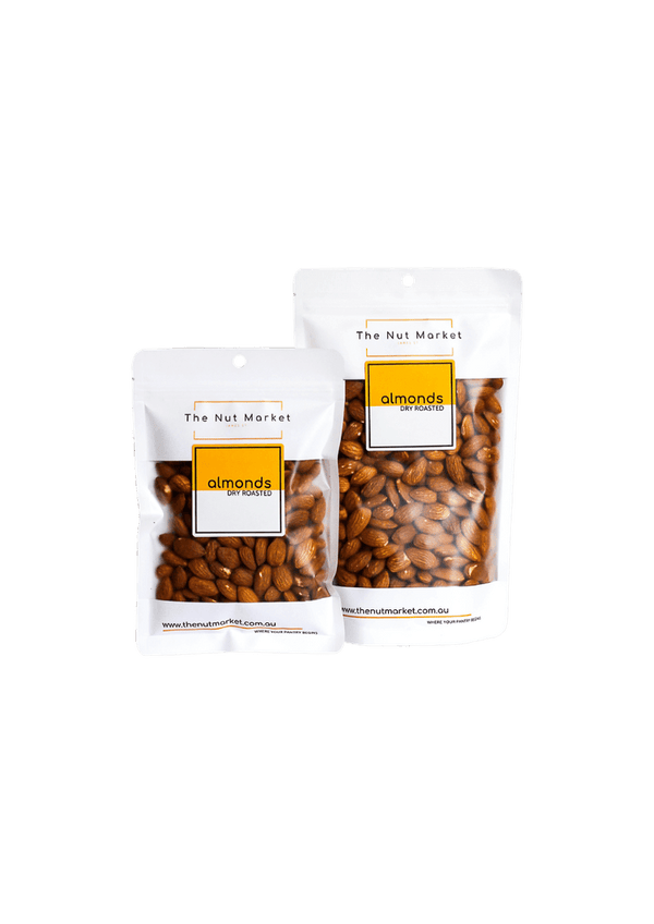 Dry Roasted Almonds in 200g and 500g Nut Market bag.