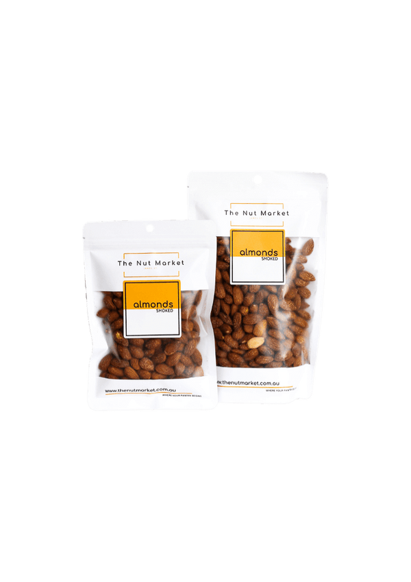 Smoked Almonds in 200g and 500g Nut Market Bag.