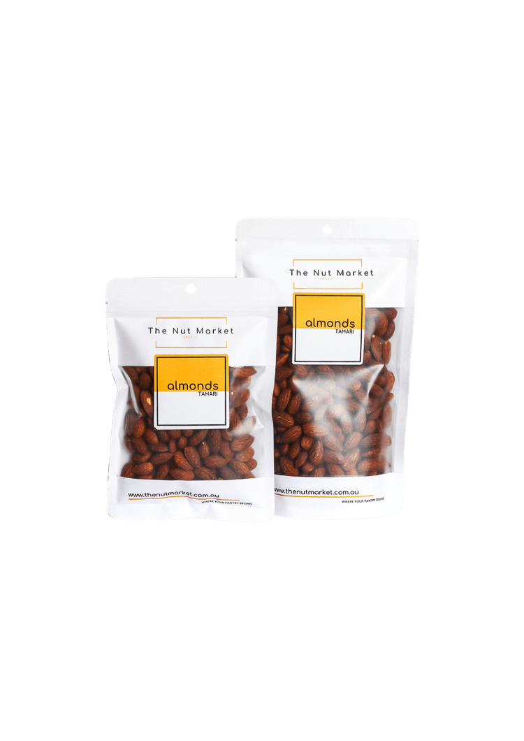 Almonds Tamari in 200g and 500g Nut Market bag.