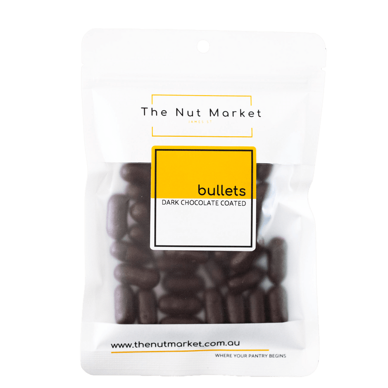 Dark Chocolate Bullets in 200g Nut Market packet..