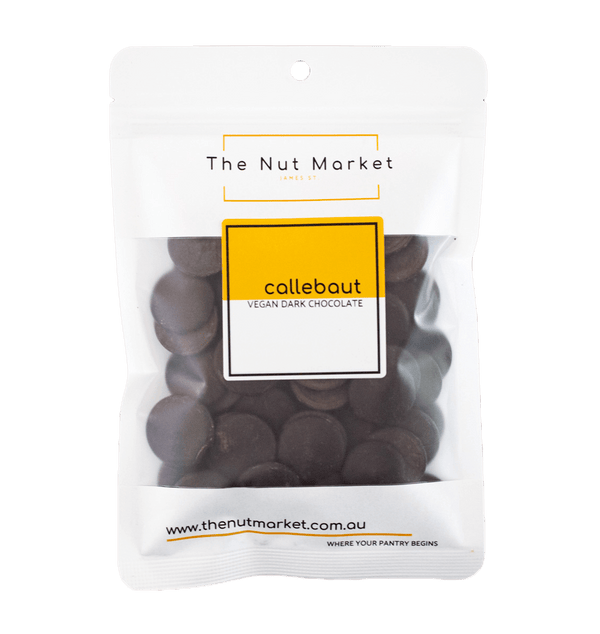 Callebaut 73 % Vegan Dark Chocolate Callets in 200g Nut Market packet.