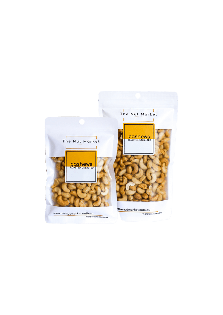 Roasted Unsalted Cashews in 200g and 500g Nut Market bags.