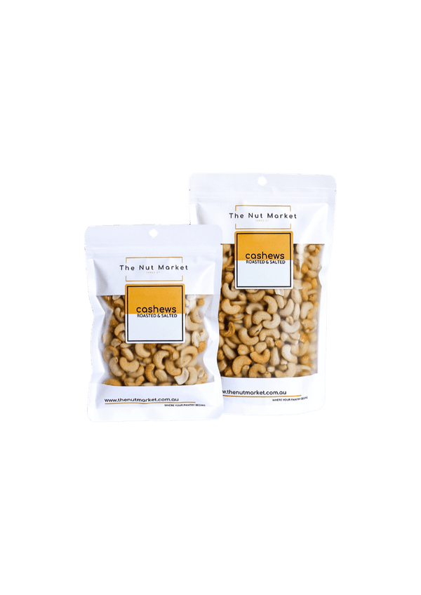 Cashews Roasted and Salted in 200g and 500g Nut Market bags.