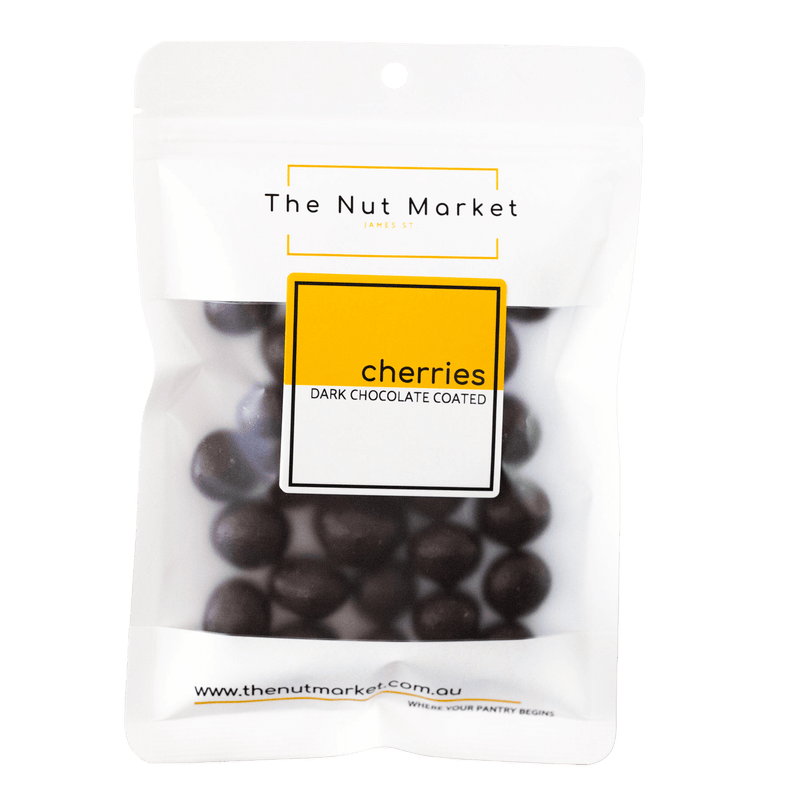 Dark Chocolate Cherries in 200g Nut Market packet.