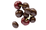 Small pile of Dark Chocolate Cherries with Red Cherries.