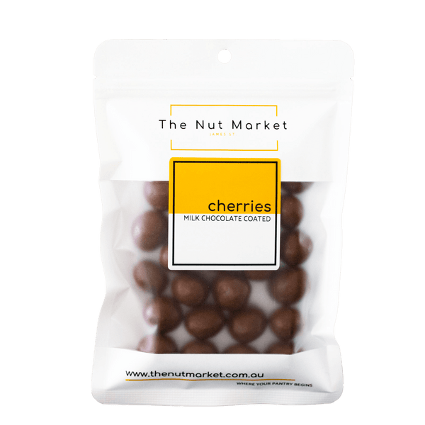 Milk Chocolate Cherries in 200g Nut Market packet.