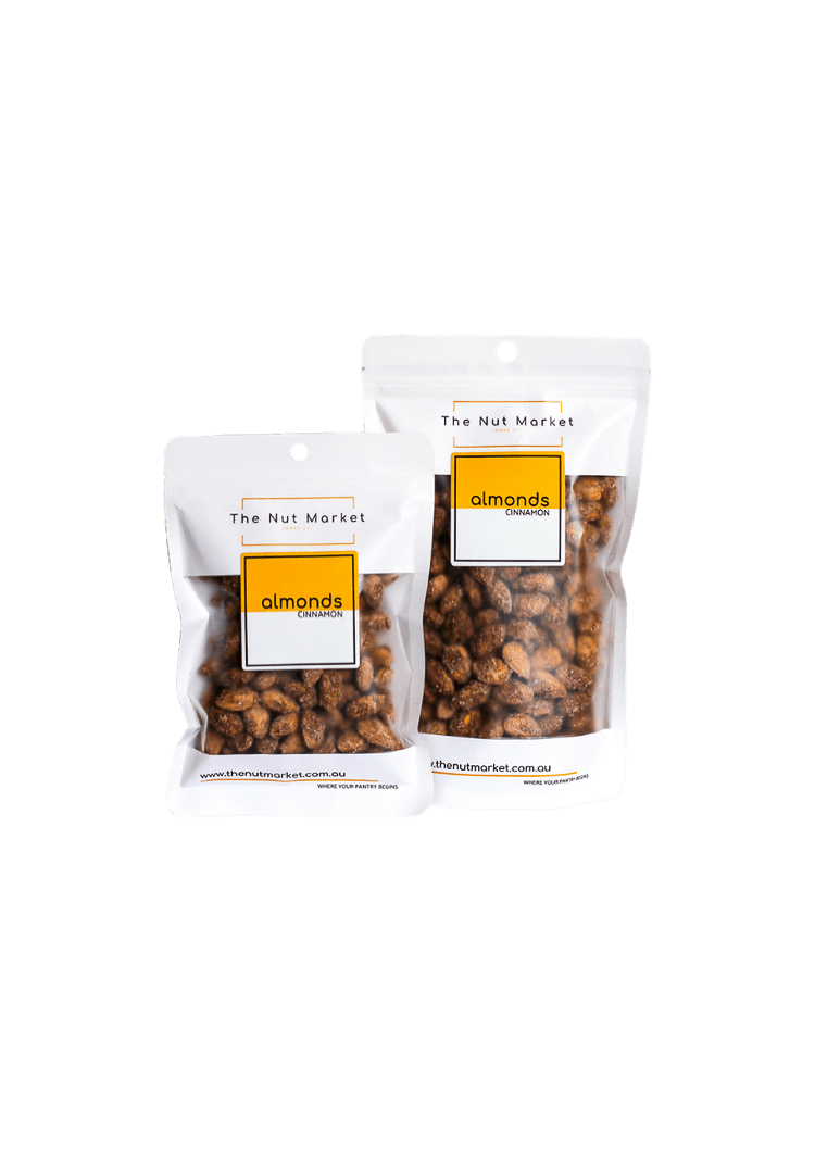 Cinnnamon Almonds in 200g and 500g Nut Market bag.