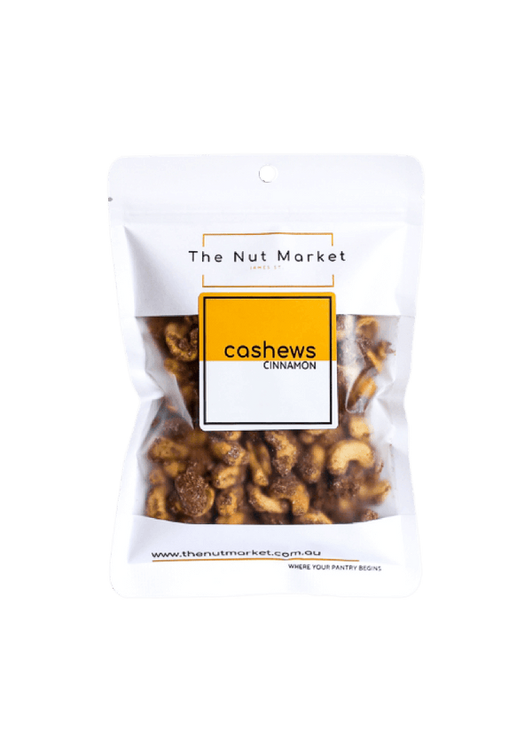 Cinnamon Roasted Cashews in 200g Nut Market bag.