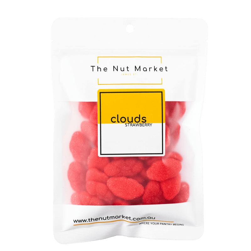 Strawberry Clouds lollies in 160g Nut Market packet.