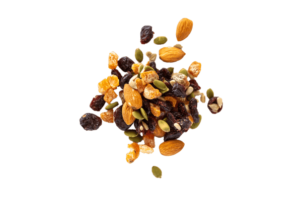Cranberry Trail Mix in small scattered pile.