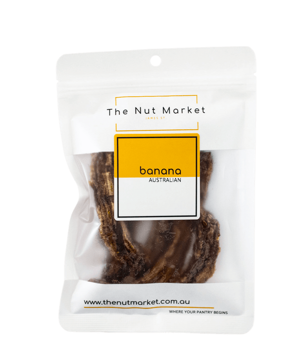 Australian Dried Banana in 150g Nut Market bag.