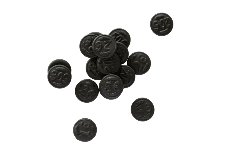Small scattered pile of Dutch Licorice Coins.